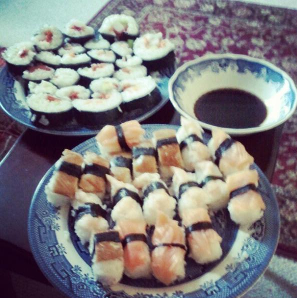 sushi selection maki rolls