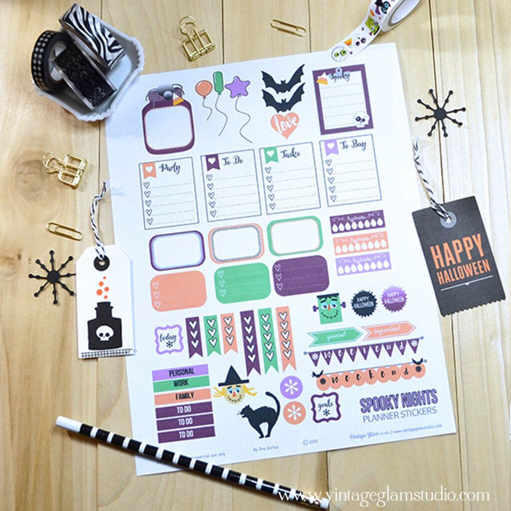 Spooky Nights halloween planner printables