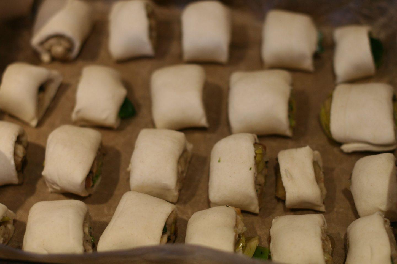vegan stuffing sausage rols