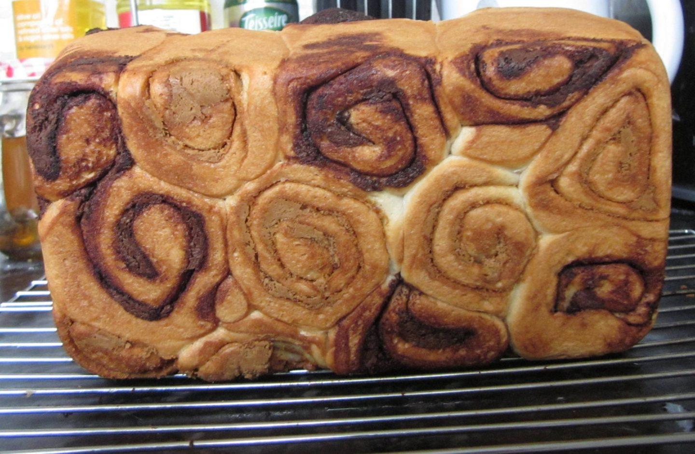 bottom of vegan nutella biscoff swirl loaf