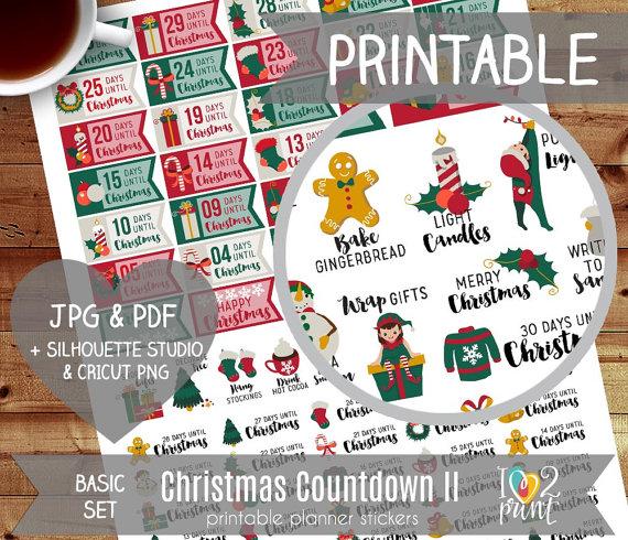 christmas countdown planner printable