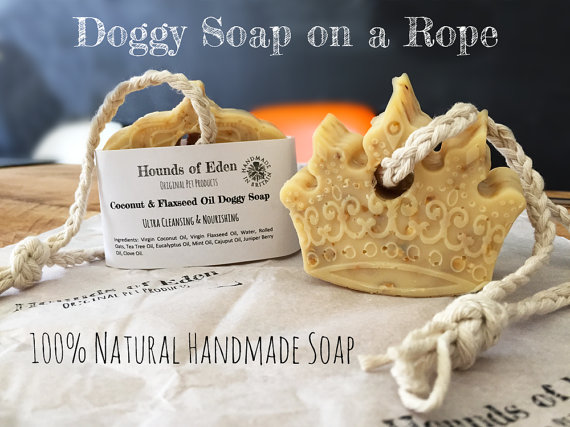 mini doggy soap on a rope