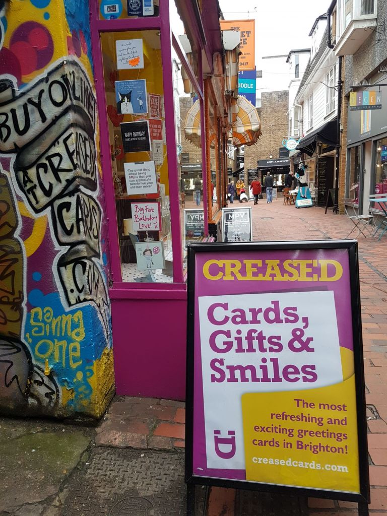 creased card shop brighton