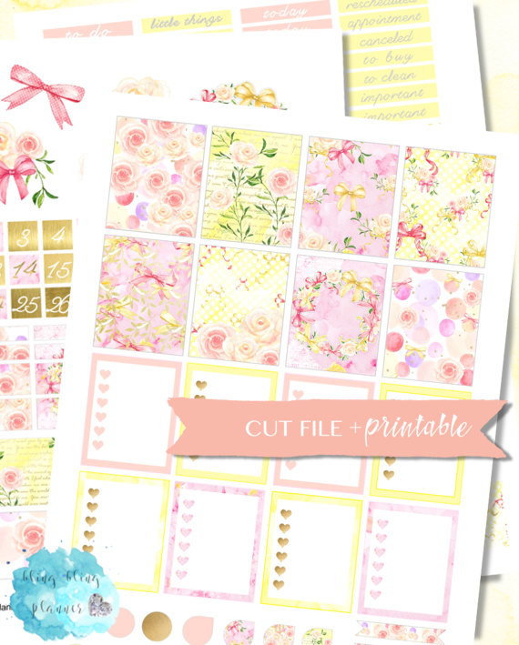 bow floral planner sticker printable