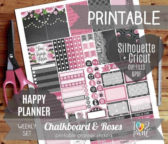chalkboard roses planner printable
