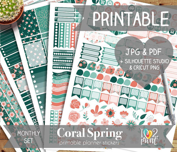 coral green spring planner printable