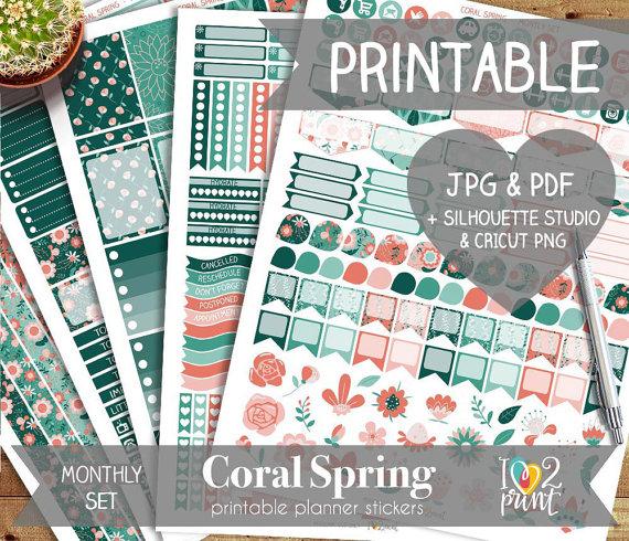 coral green spring planner printable