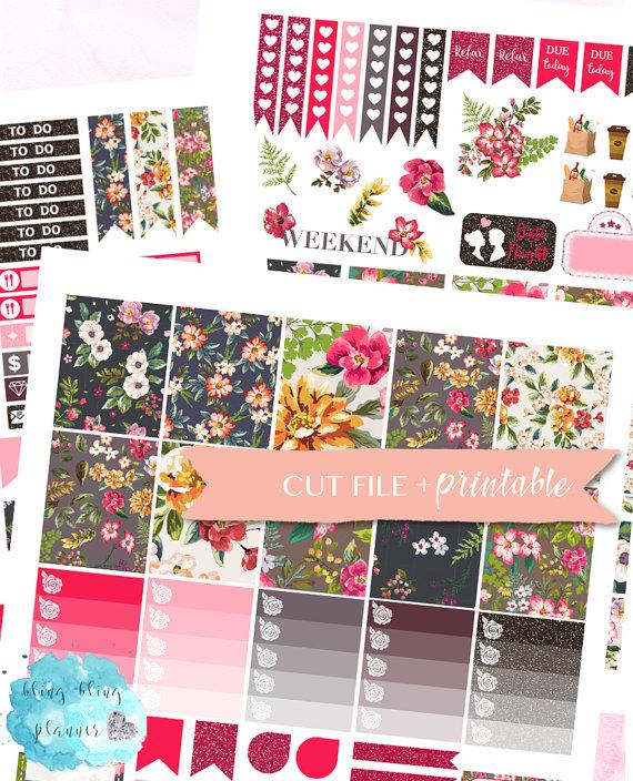 dark floral planner sticker printable