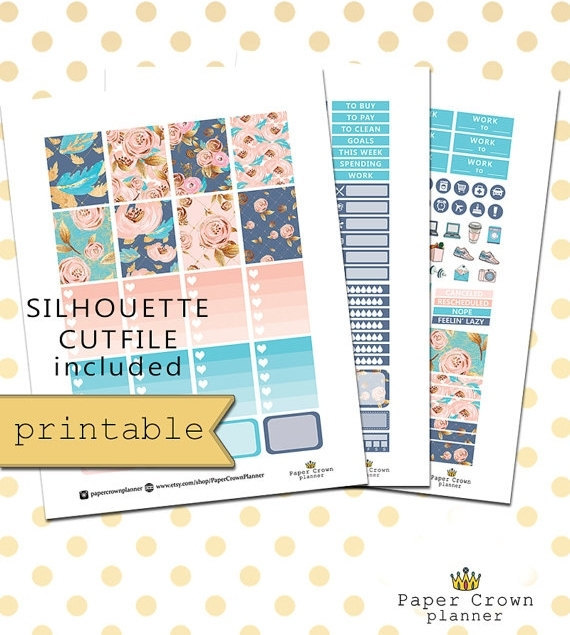 blush blue gold planner printables