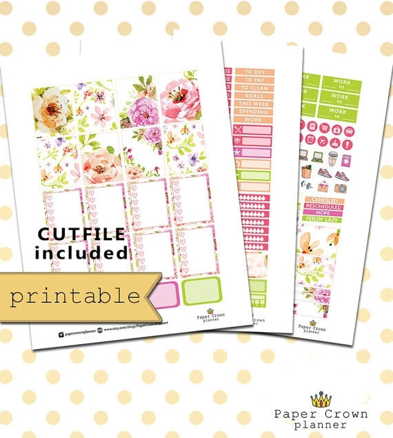 bouquet floral printable planner stickers