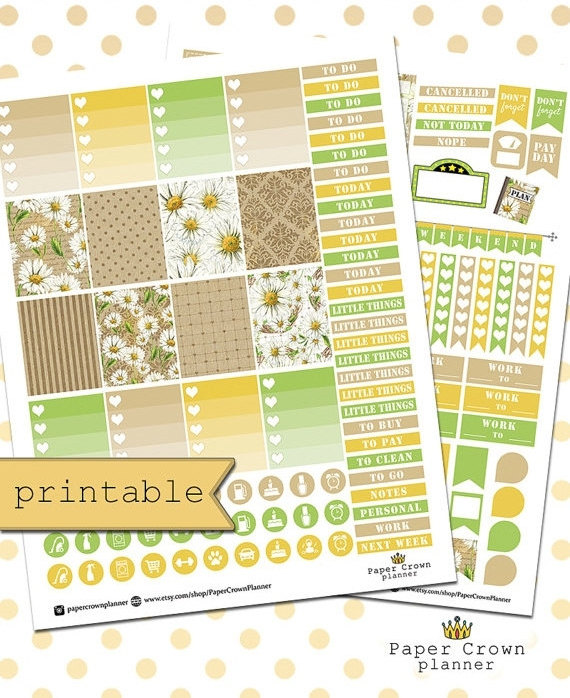 daisies planner printable