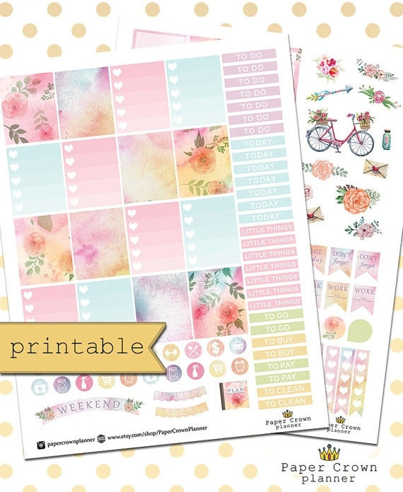 paper crown watercolour planner printable