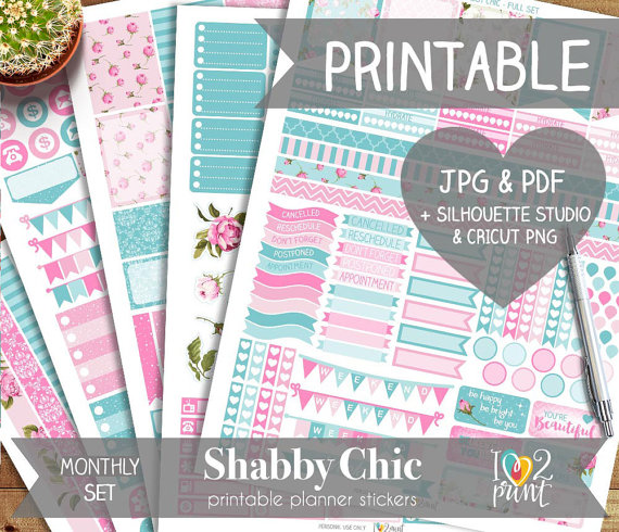 pink and mint floral planner printable