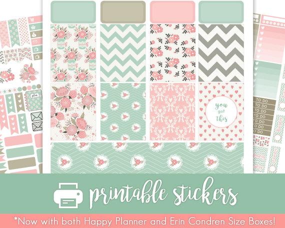 pink grey teal floral planner printables