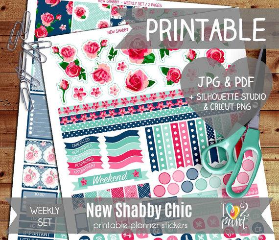 shabby chic roses planner printable