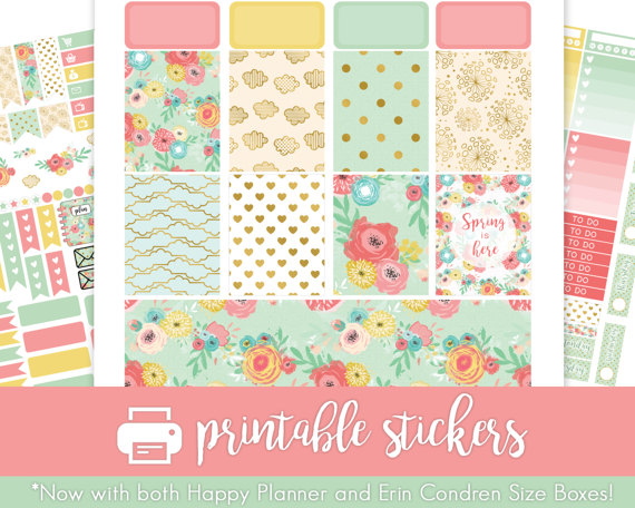 spring flowers planner printable stickers