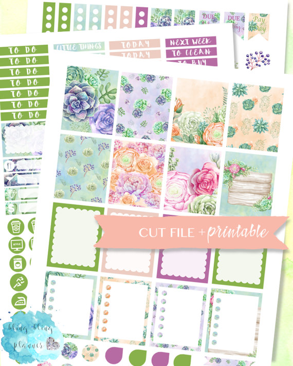 succulent spring floral planner stickers