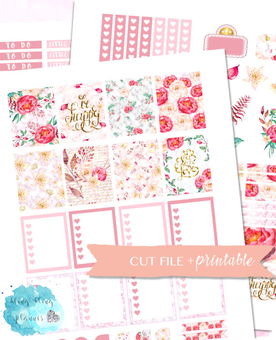 tea rose planner sticker printables