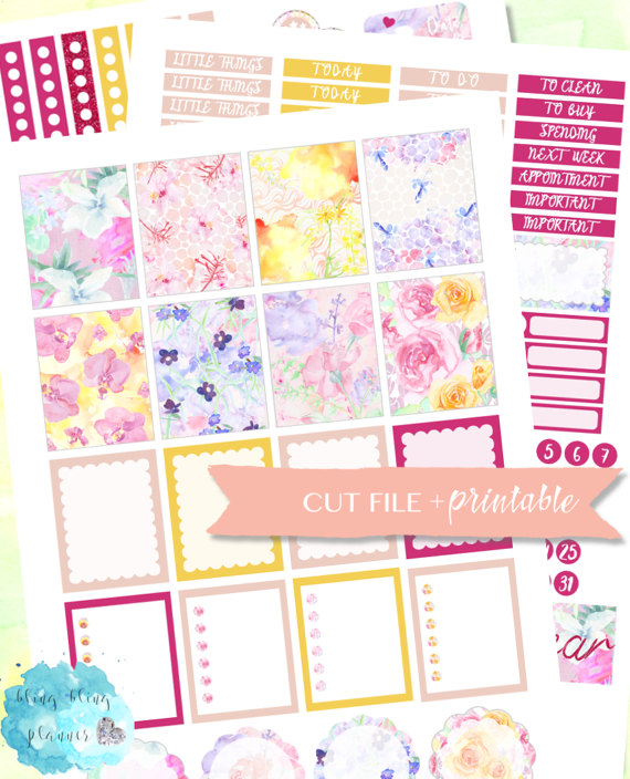 watercolour floral planner sticker printable