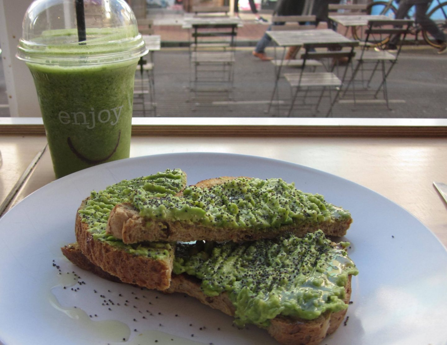 larder avocado toast and smoothie