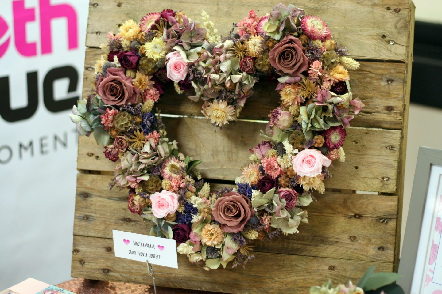 dried flower heart wreath