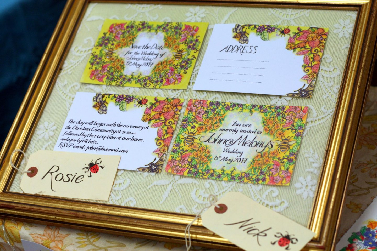 floral hand illustrated invites