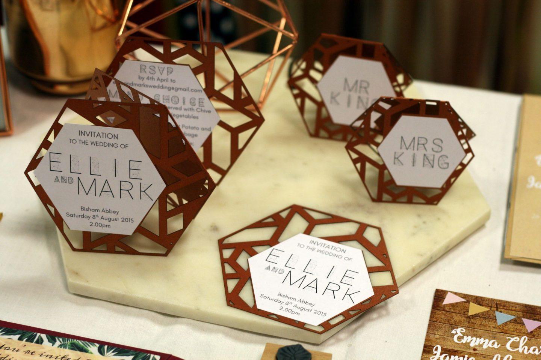 laser cut rose gold wedding invites