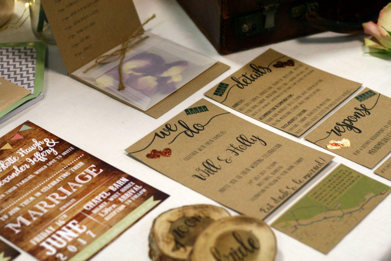 kraft script wedding invitations