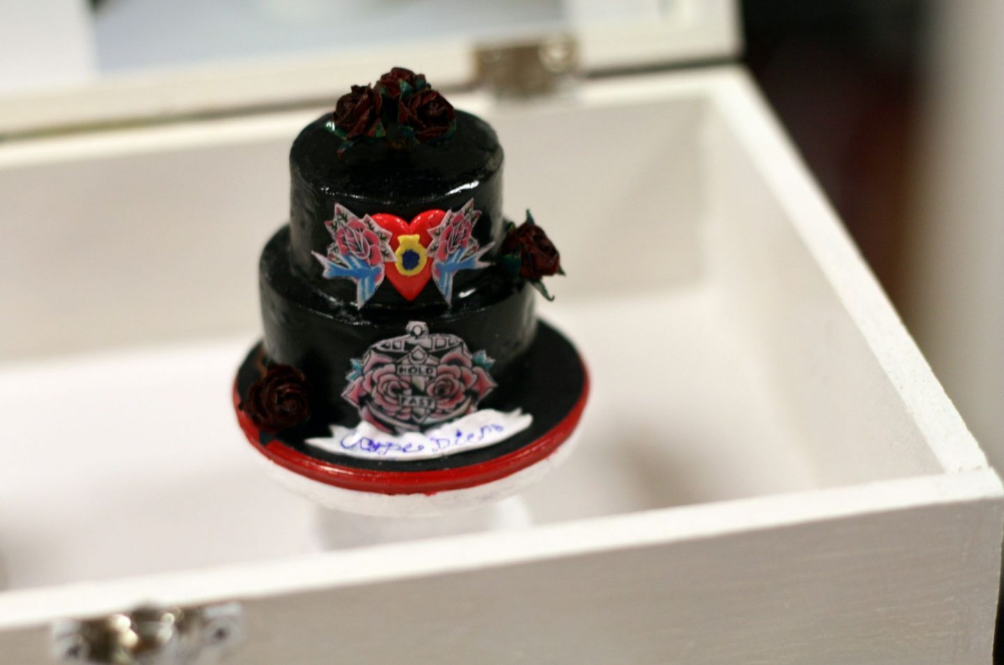 black gothic punk mini wedding cake