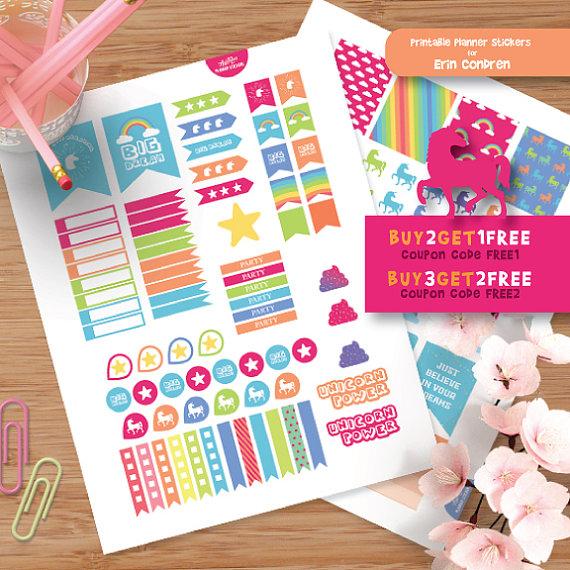 Bright unicorn planner stickers