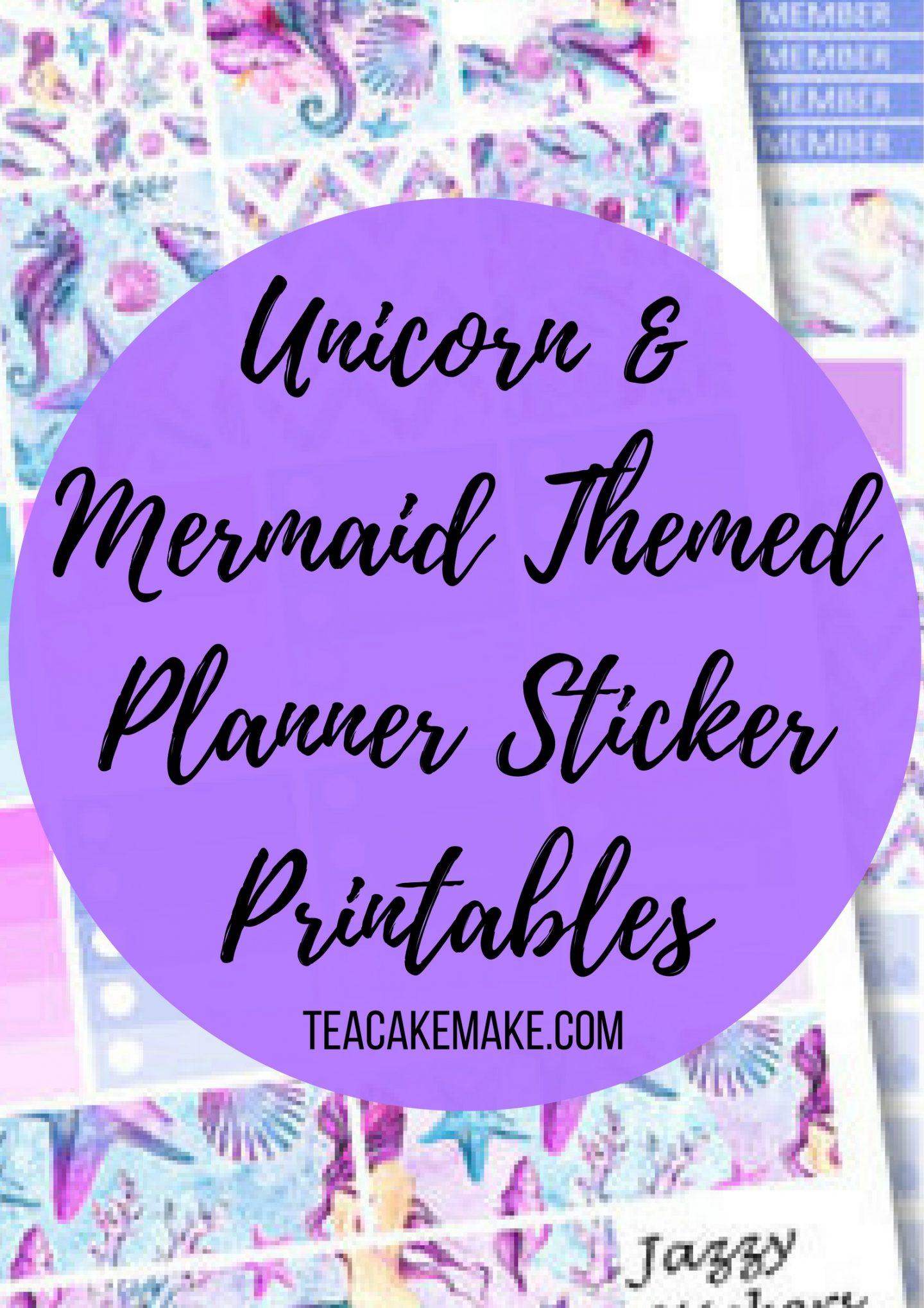 Unicorn Mermaid Themed Planner Sticker Printables