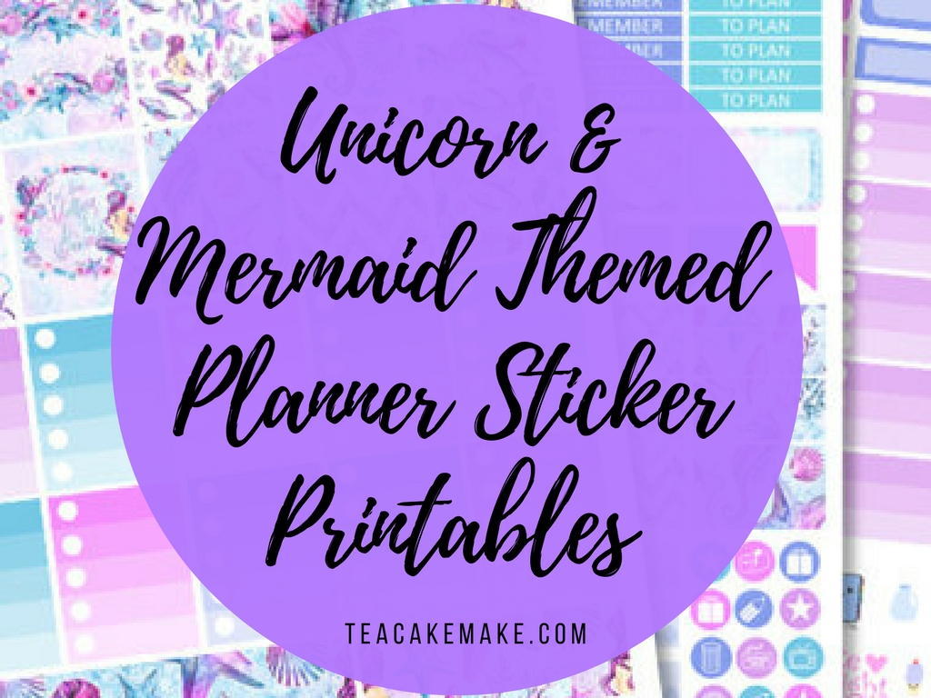 Unicorn and Mermaid Planner Printable Stickers
