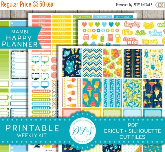 beach printable planner stickers