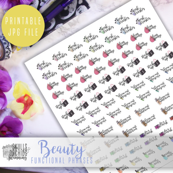 beauty functional planner printable stickers