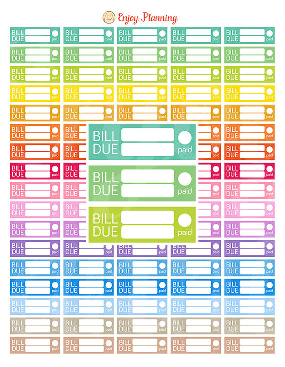 bill due bright colour printable planner stickers