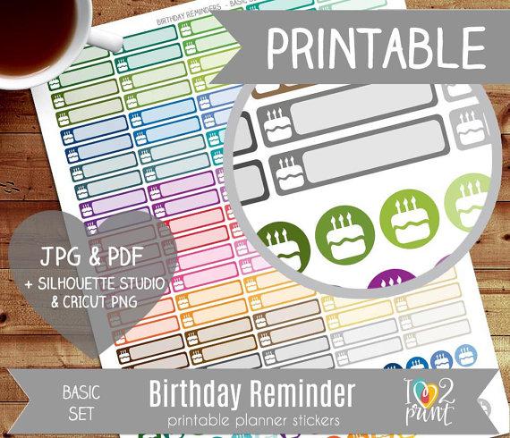 birthday reminder planner stickers