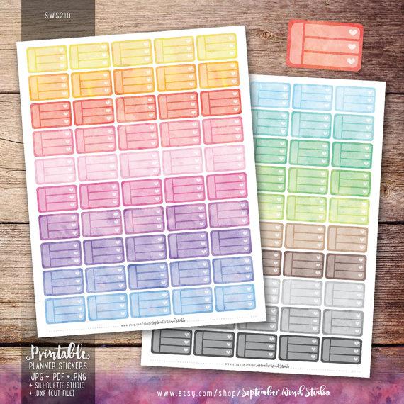 blank checklist planner sticker printable