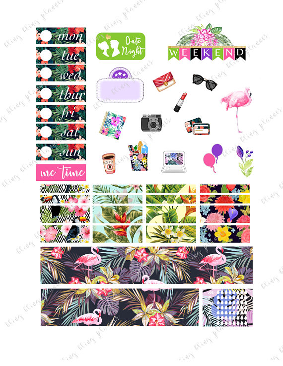 bling bling floral tropical planner stickers