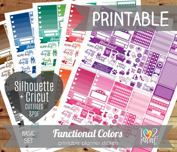 bright rainbow functional colours planner printables
