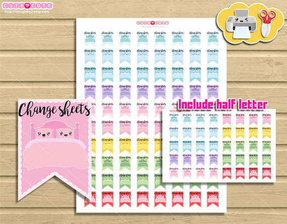 change bed sheets covers planner printable stickers
