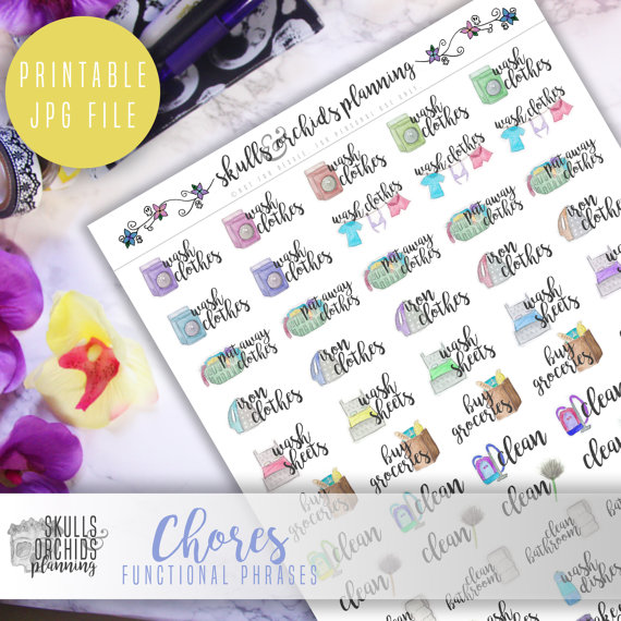 chores functional planner sticker printable