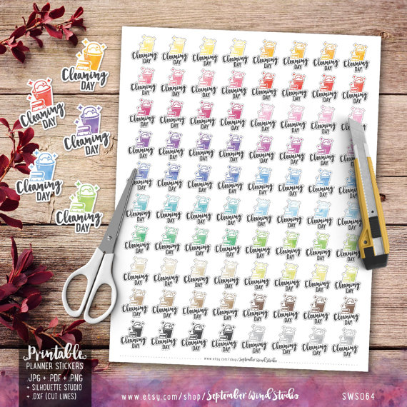 cleaning day printable planner stickers