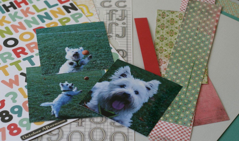 cute dog scrapbook layout progress