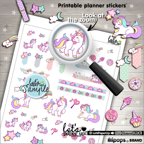 cute kawaii unicorn planner printables