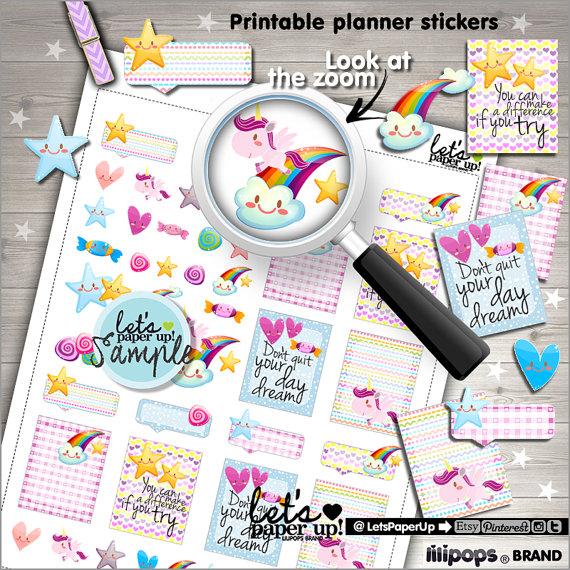 cute rainbow unicorn planner printables
