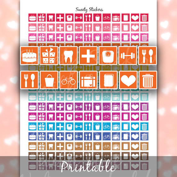 functional bright colour icon sticker printables