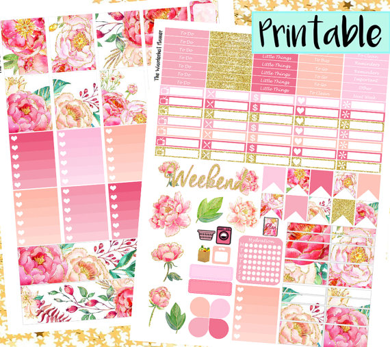 gilded gold peony planner stickers