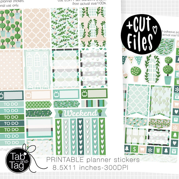 green summer floral planner printables