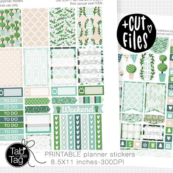 green summer floral planner printables