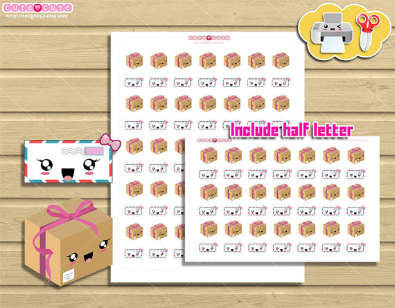 happy mail planner printable stickers